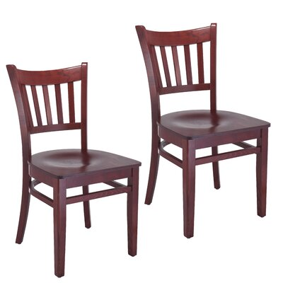 Jeske Slatback Solid Wood Dining Chair Charlton Home Finish: Mahogany