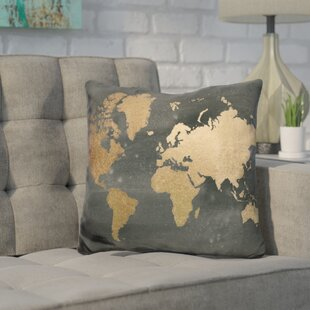 Javier Foil World Map Throw Pillow