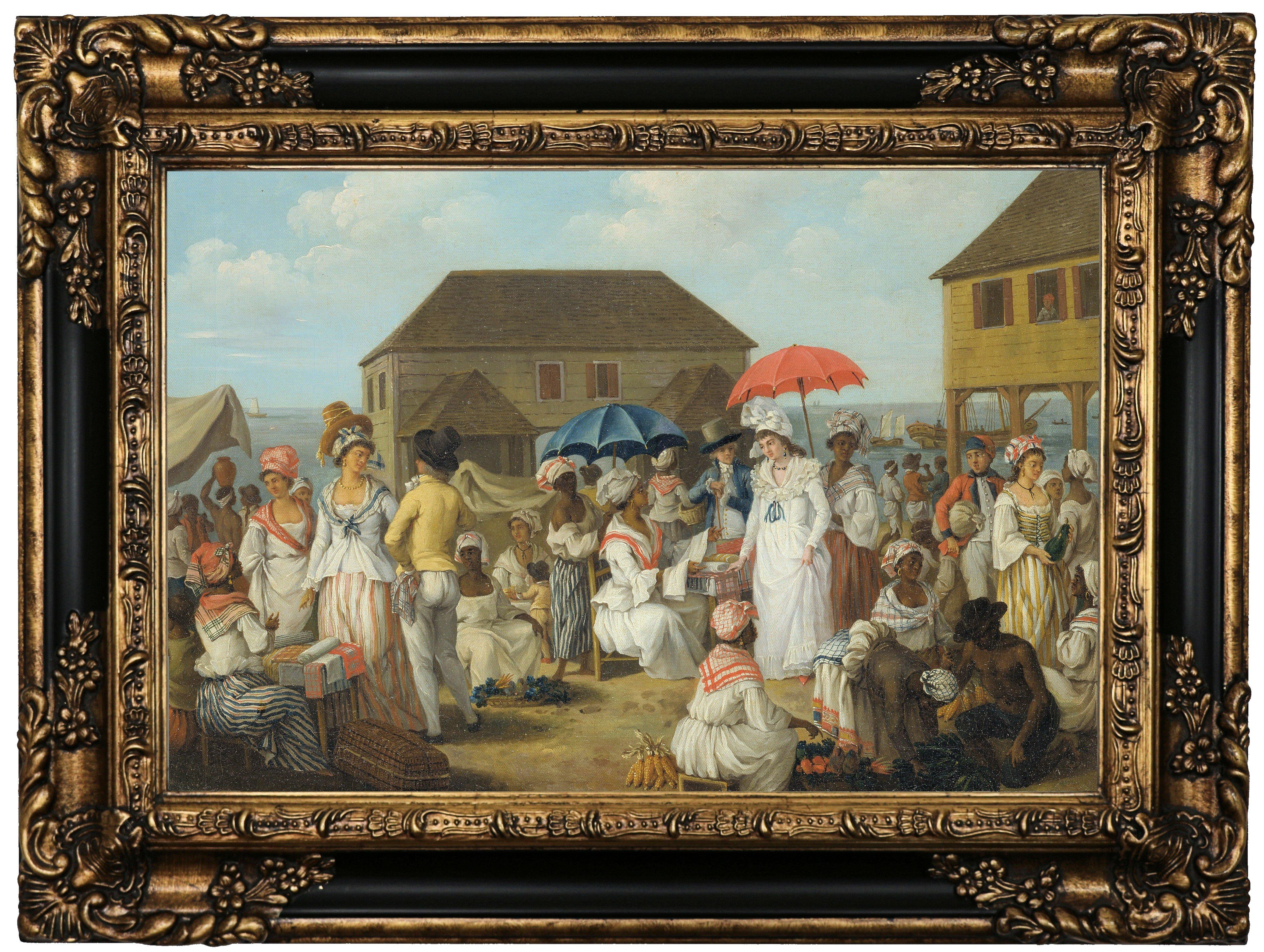 Historic art gallery linen market dominica 1780 framed print on historic art gallery linen market dominica 1780 framed print on canvas wayfair gumiabroncs Images