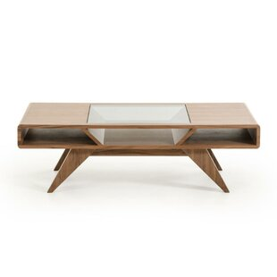 Caryl Glass Inserted Wooden Coffee Table