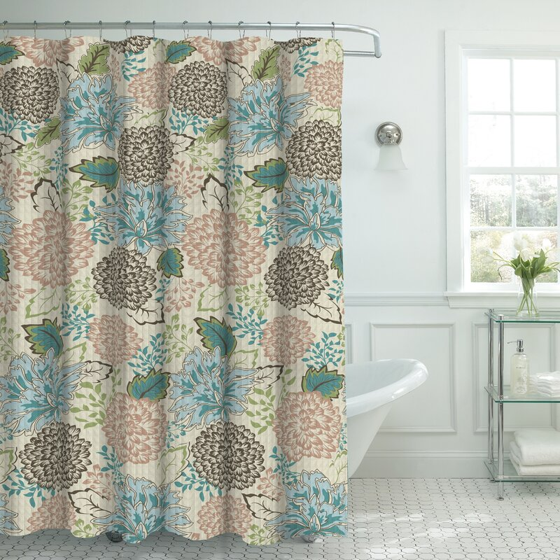 Bath Studio Oxford Fabric Weave Textured Floral Shower Curtain Set