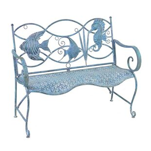 Highland Dunes Dash Fish and Seahorse Back Metal Bench