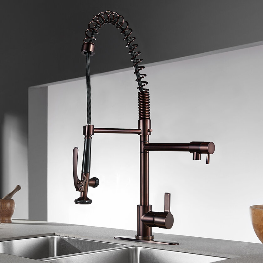 Kingston Brass Continental Pull Down Double Handle Kitchen Faucet Reviews Wayfair