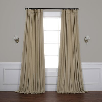 Alcott Hill Aldreda Extra Wide Solid Blackout Thermal Rod Pocket Single Curtain Panel Size per Panel: 96 L x 100 W, Color: Classic Taupe