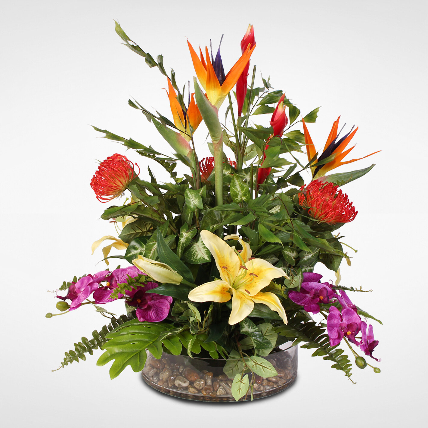 Jennysilks Exotic Tropical Silk Mixed Floral Arrangement In Glass Bowl Reviews Wayfair