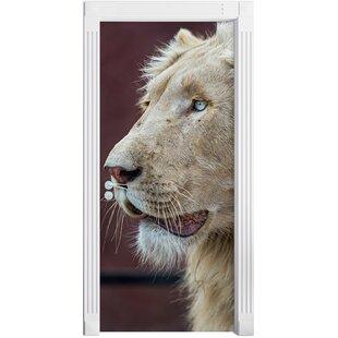 Magnificent White Lion Door Sticker By East Urban Home