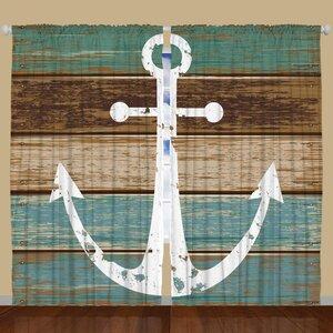 Nautical Blackout Rod Pocket Curtain Panels (Set of 2)