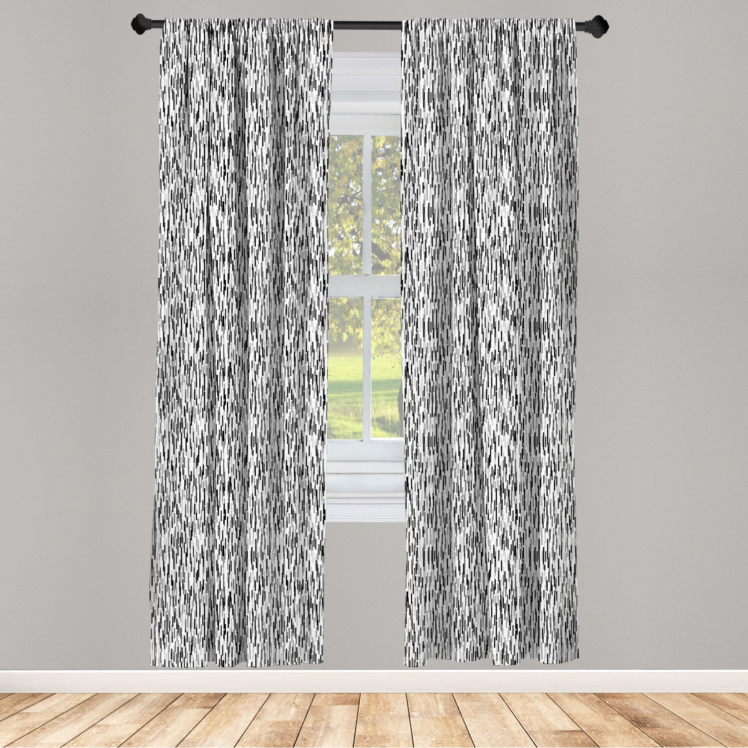 East Urban Home Ambesonne Abstract Window Curtains Scandinavian Pattern With Lines Geometrical Greyscale Design Simplistic Lightweight Decorative Panels Set Of 2 With Rod Pocket 56 X 63 Black Grey White Reviews Wayfair