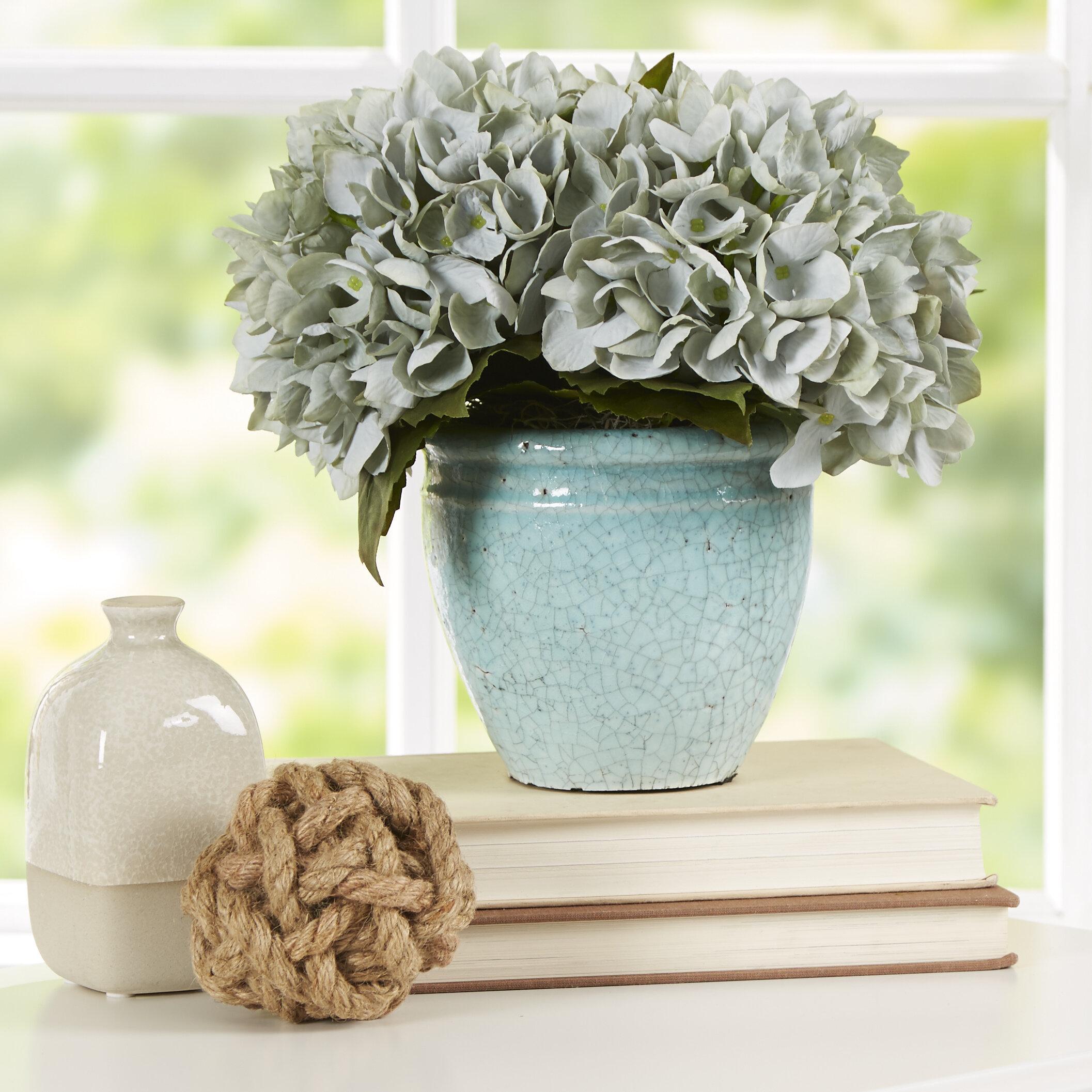 Blue Sea Foam Hydrangea Floral Arrangement In Rustic Pot Reviews Birch Lane