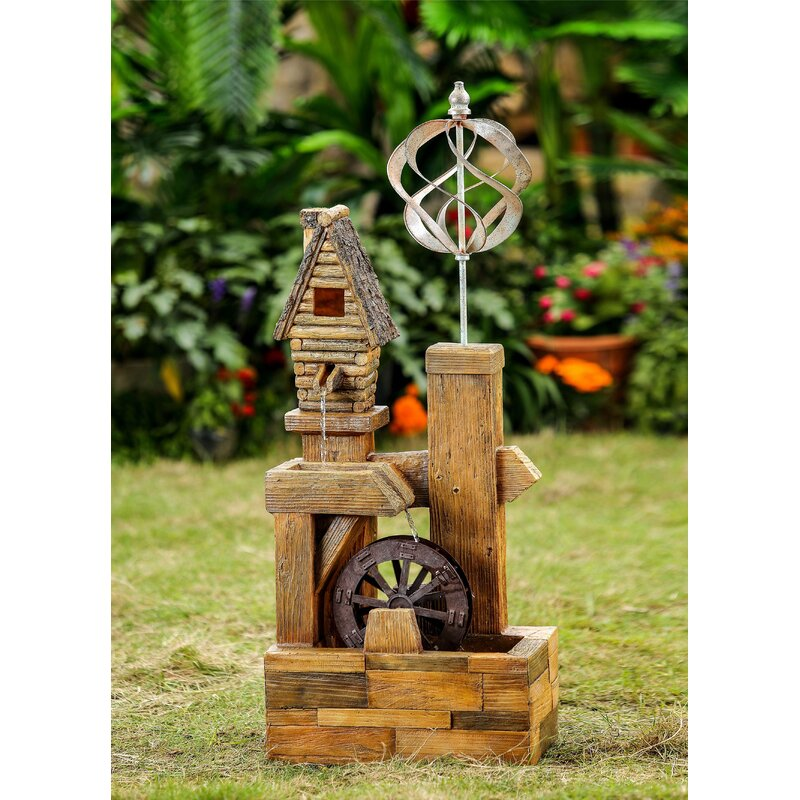 Jeco Inc Resin Fibergl Wood Look Birdhouse With Wind Spinner Water Fountain Wayfair