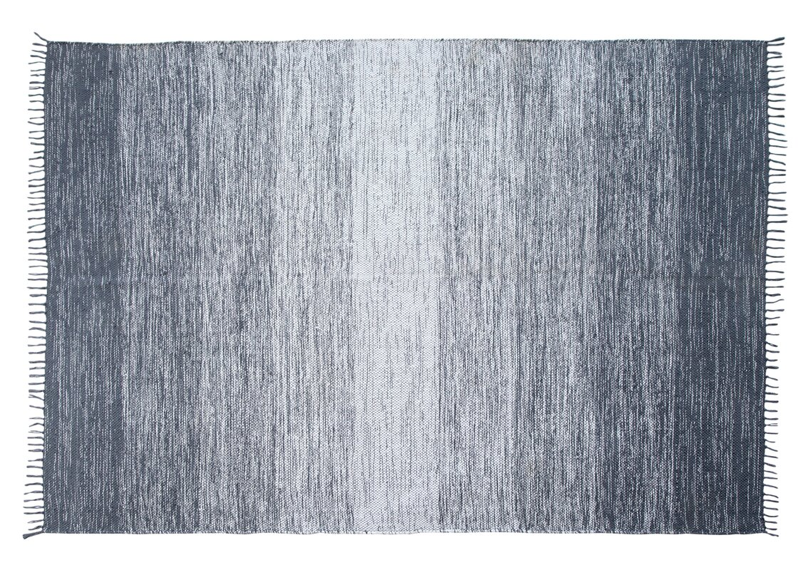Ombre Fringe Cotton Hand-Woven Blue Area Rug