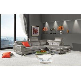 Steadman Leather Sectional by Orren Ellis Best Design