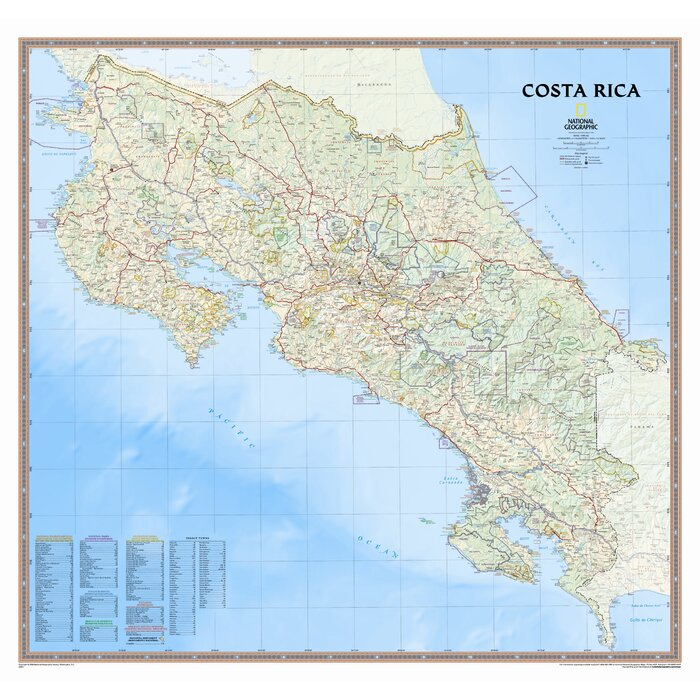 Costa Rica Wall Map