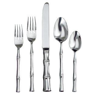 Bamboo Satin 5 Piece 18/10 Stainless Steel Flatware Set, Service for 1