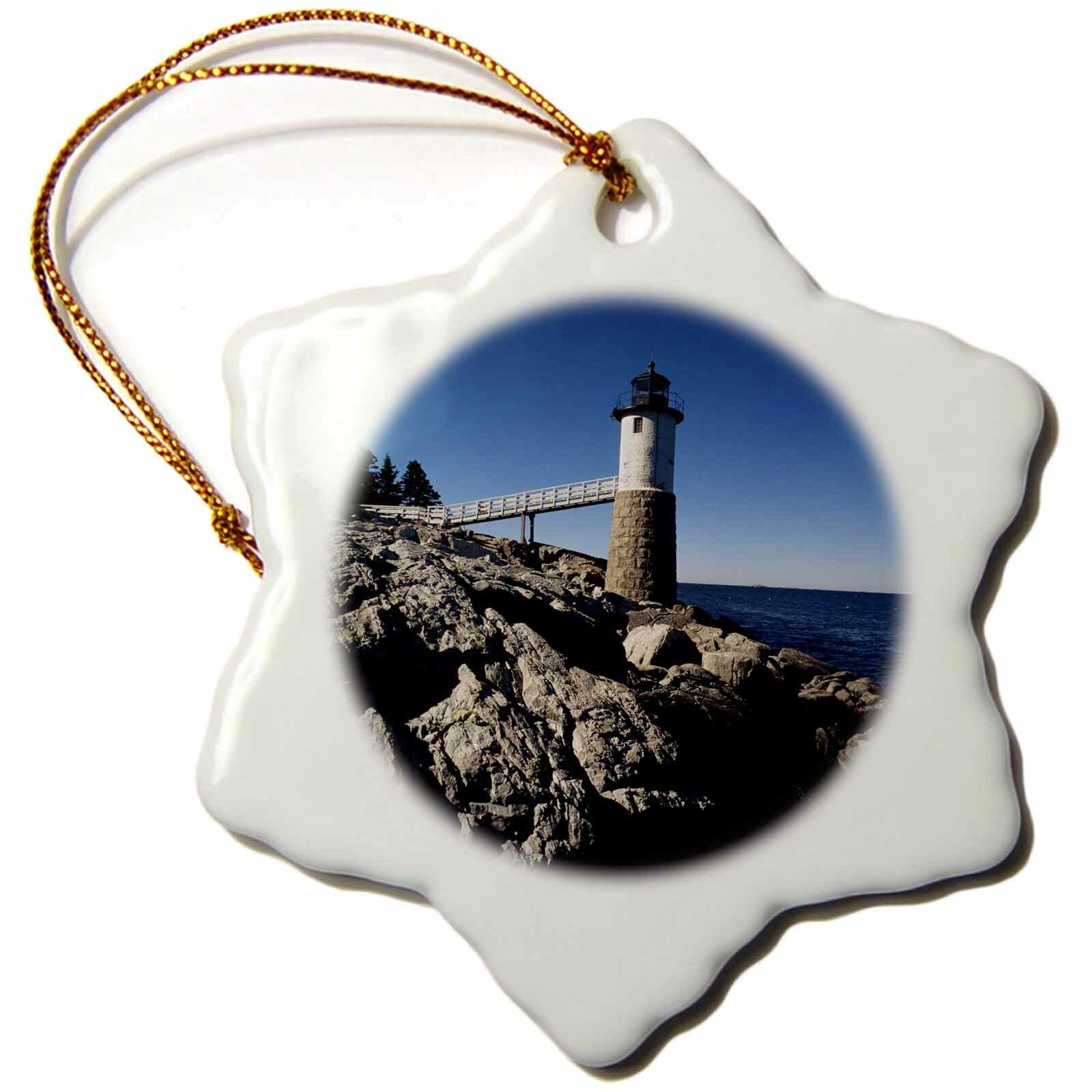 The Holiday Aisle Usa Maine Knox County Isle Au Haut Robinson Point Lighthouse Snowflake Holiday Shaped Ornament Wayfair