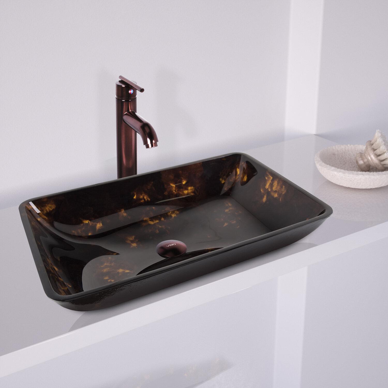 VIGO Fusion Glass Rectangular Vessel Sink Bathroom Sink with Faucet ...