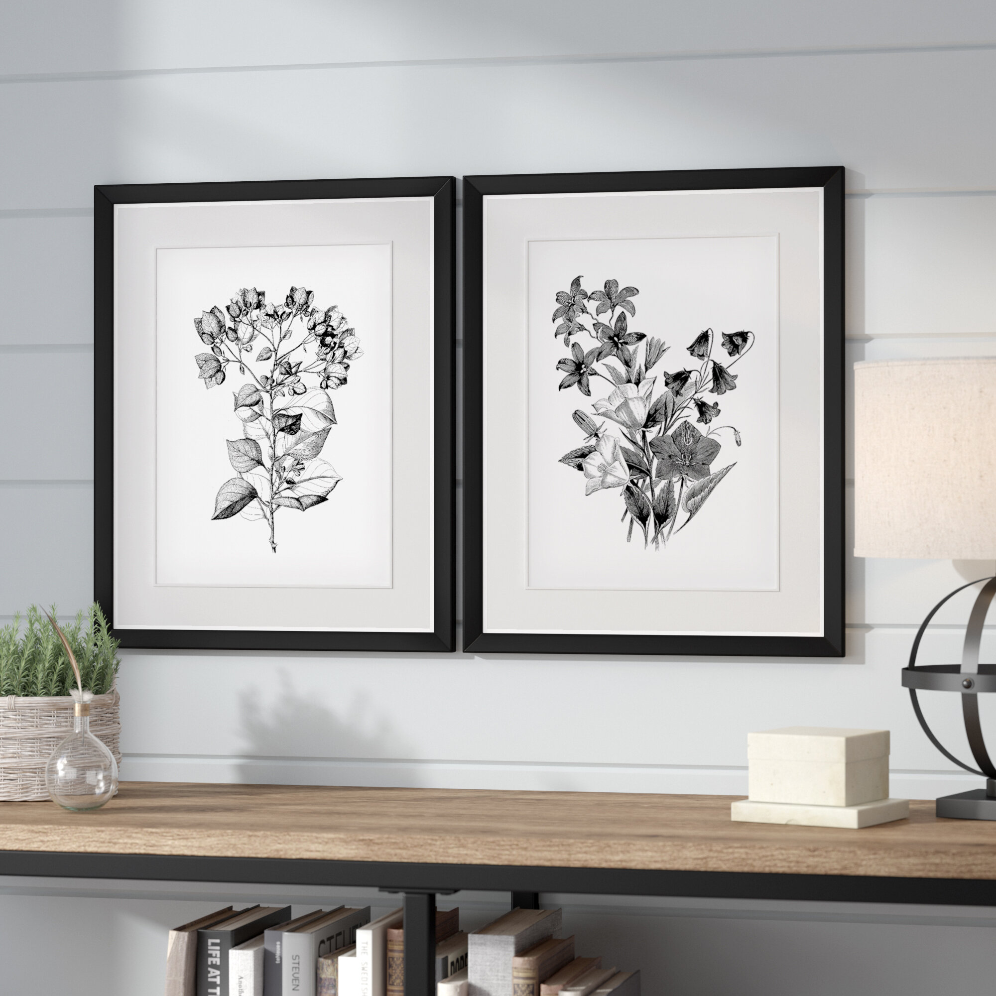 Botanical black and white 2 piece framed acrylic painting print set reviews wayfair