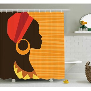 Haitam Girl Profile Silhouette With Earrings Grace and Elegance Icon Image Single Shower Curtain