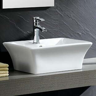 Savings Modern Vitreous China Square Vessel Bathroom Sink with Overflow ByFine Fixtures