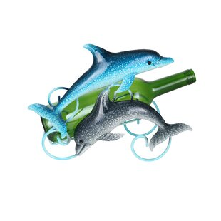 Happy Duo of Dolphins Metal 1 Bottle Tabl..