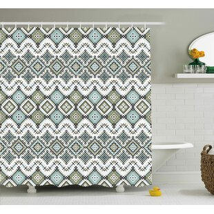 Tiana Ethnic Arabesque Geometric Pattern With Fractal Square Shapes Line Culture Art Single Shower Curtain