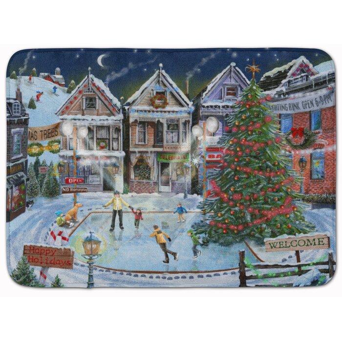 Christmas Family Skate Night Memory Foam Bath Rug