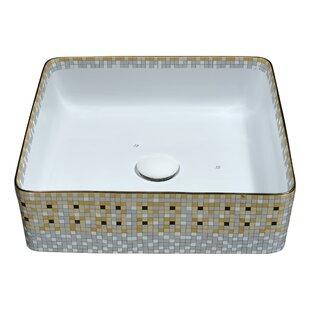 ANZZI Byzantian Vitreous China Square Vessel Bathroom Sink