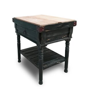 Brunton Kitchen Island with Butcher Block Top August Grove