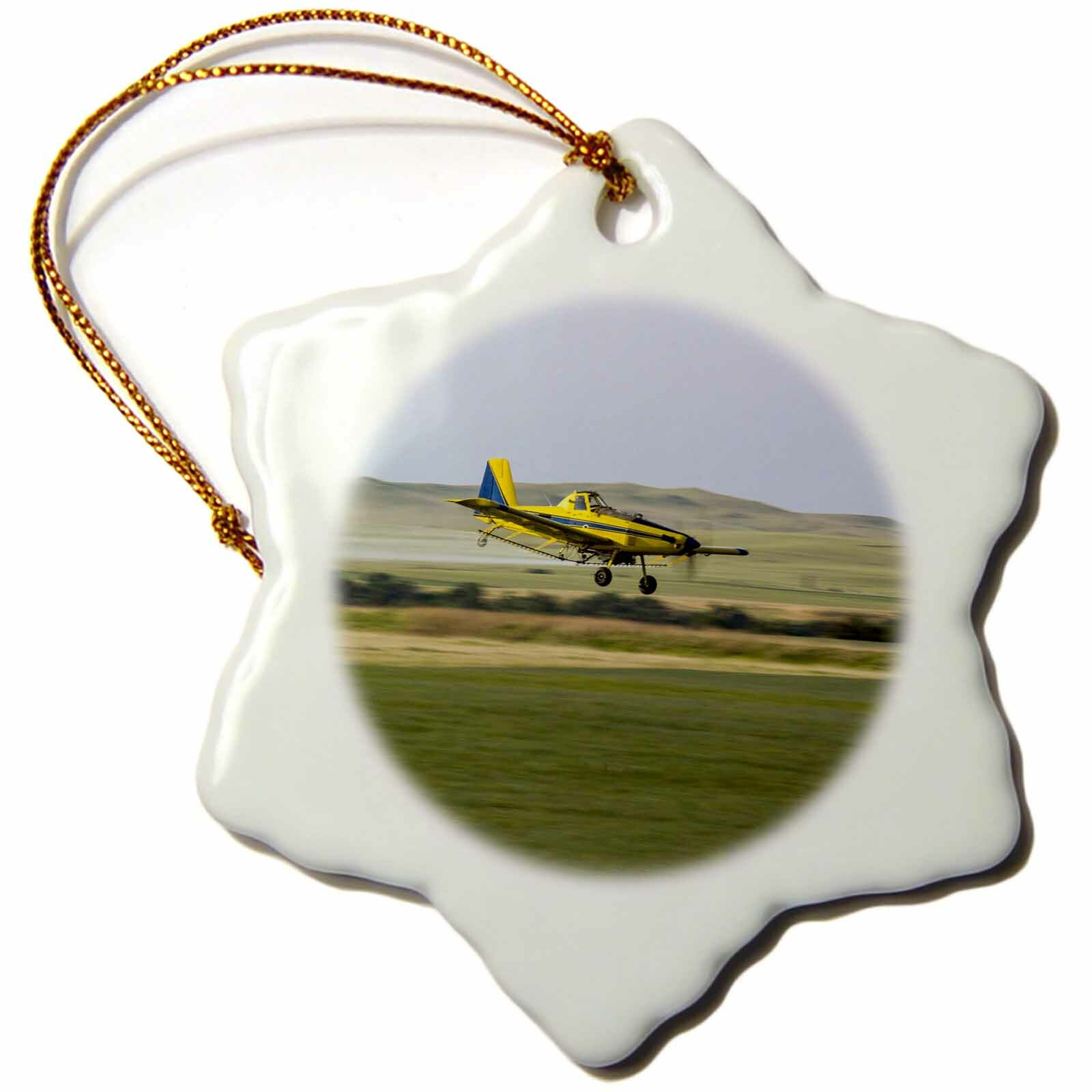 The Holiday Aisle Crop Duster Airplane Farm Field North Dakota Usa Snowflake Holiday Shaped Ornament Wayfair