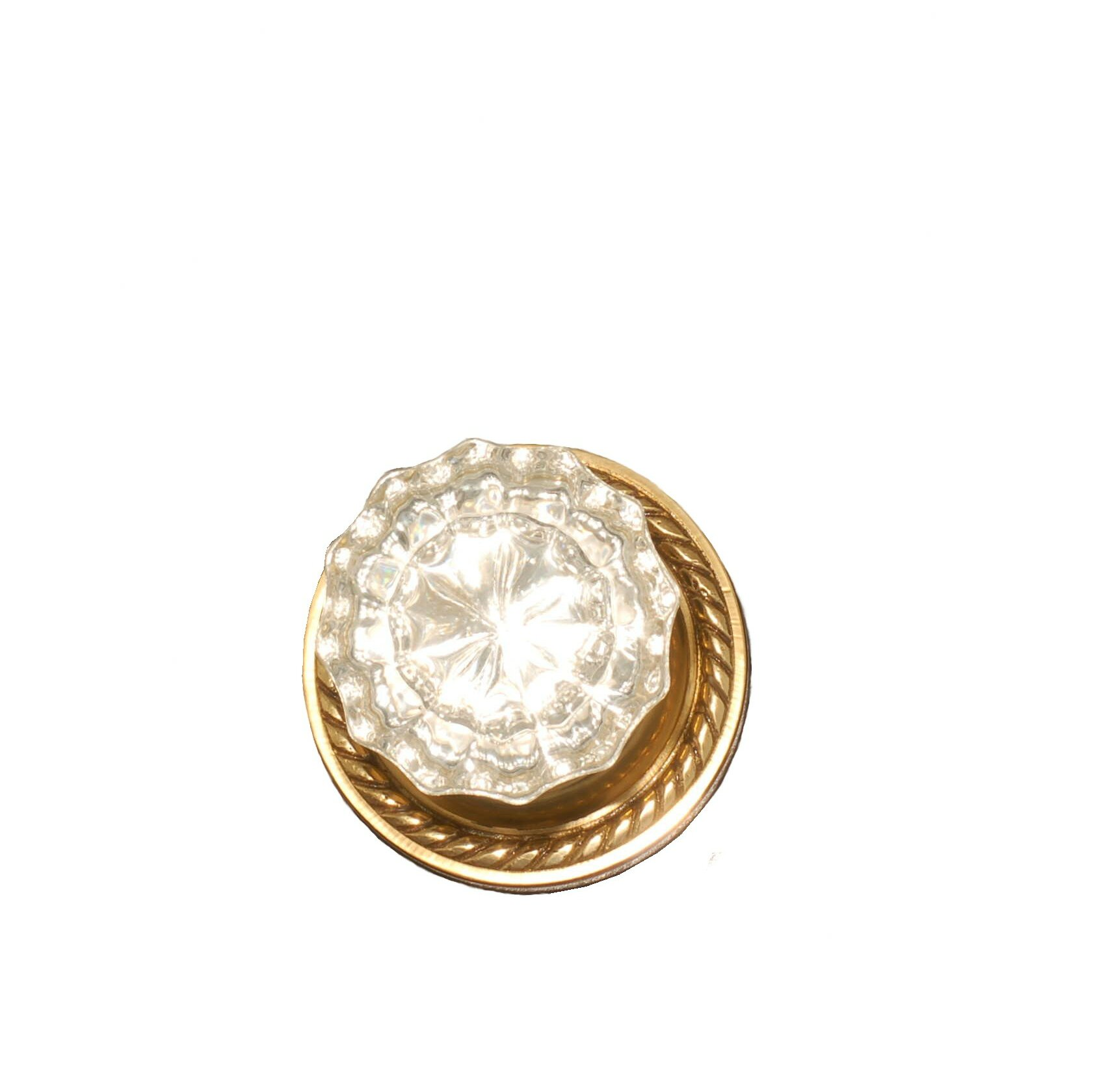 Classic Rosette Set With Diamond Crystal Door Knobs Privacy Polished Brass Doorsets.