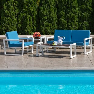 Vero 4 Piece Sunbrella Sofa Seating Group with Cushions