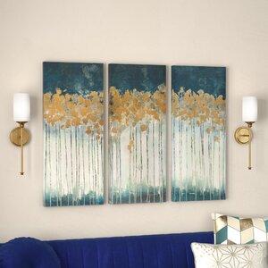 U0027Midnight Forestu0027 Gel Coat Canvas Wall Art With Gold Foil Embellishment  3 Piece Set