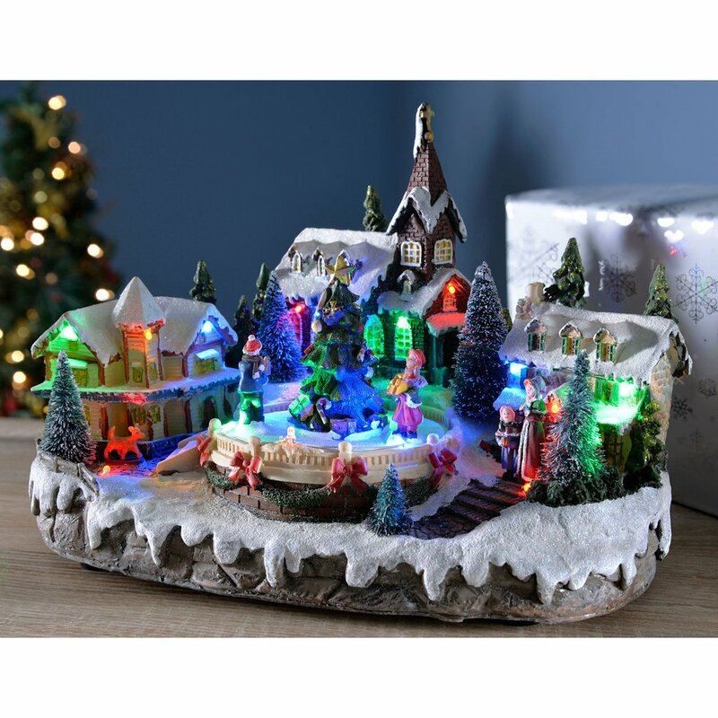 pre lit led animated musical christmas village scene with rotating children - Animated Christmas Village