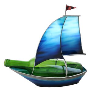 Tandy Blue Sailboat with Flag 1 Bottle Tabletop Wine Rack by Highland Dunes