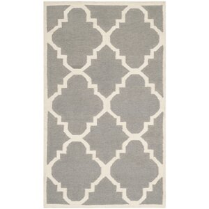 Dhurries Wool Gray/Ivory Area Rug