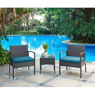 Best Kobe 3 Piece Rattan Conversation Set with Cushions Compare prices