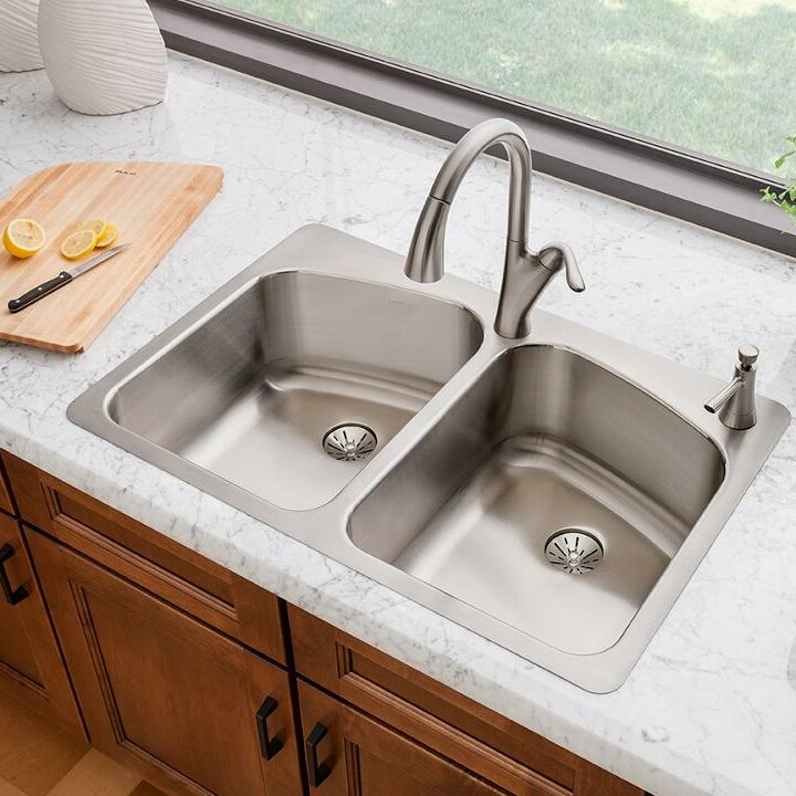 Elkay lustertone 33 x 22 double basin top mount kitchen sink with lustertone 33 x 22 double basin top mount kitchen sink with perfect drain workwithnaturefo