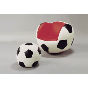 Soccer Kids Faux Leather Chair and Ottoman by Crown Mark