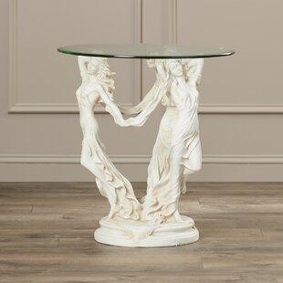 Astoria Grand Beldin Glass Topped Sculptural End Table
