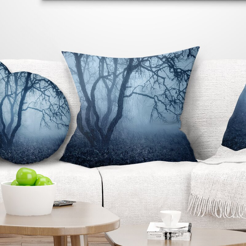East Urban Home Landscape Tree In Foggy Dark Forest Pillow Wayfair