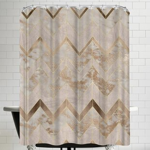 Grab My Art Chic Rose Gold Marble Copper Chevron Single Shower Curtain