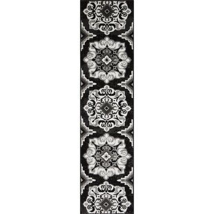 Reviews Caffey Modern Trellis Black/White Area Rug By Andover Mills