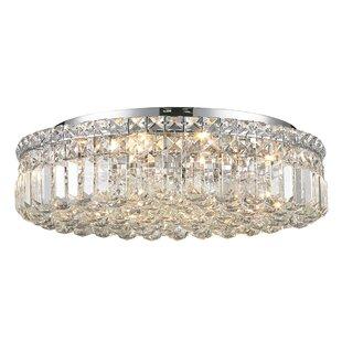 Everly Quinn Boshears Crystal 4-Light Flush Mount