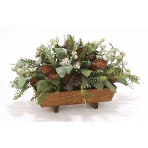 Fall Mix of Natural Preserved and Dried Components Desk Top Plant in Planter