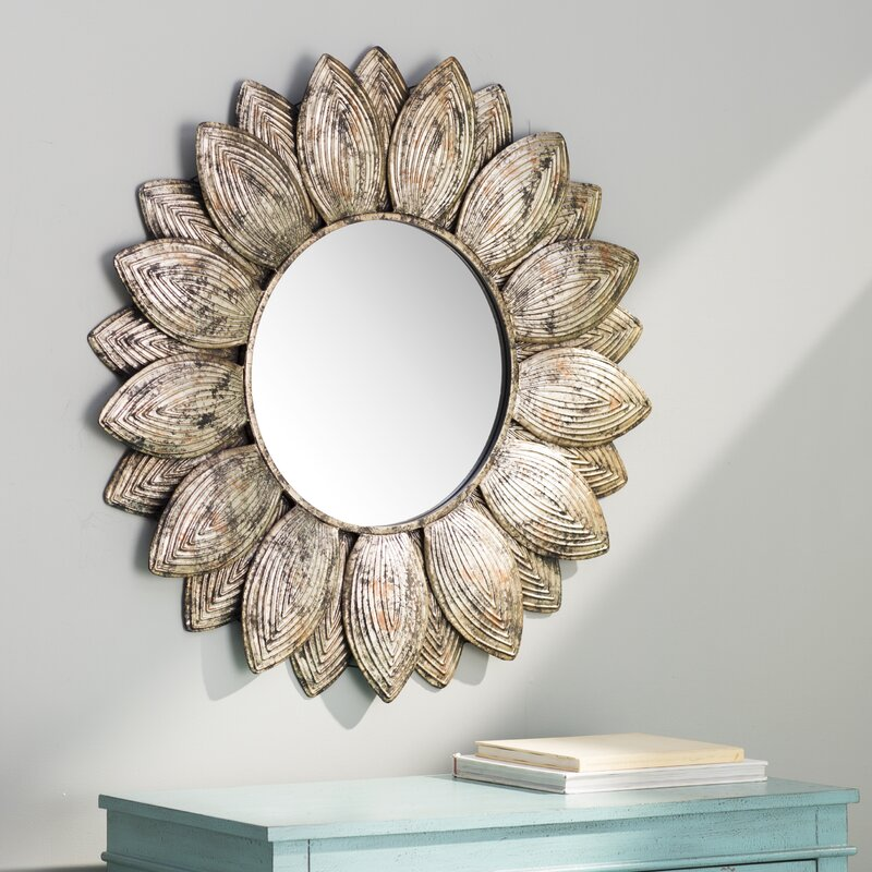 raundin round frameless faceted wall mirror