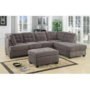 darianna waffle reversible sectional - Sectional Leather Sofas
