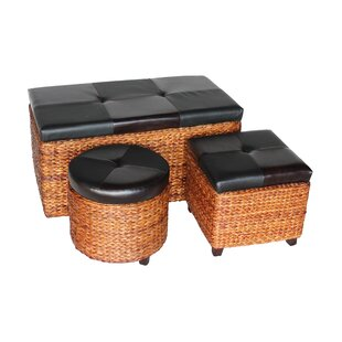 Attraction Design Home 3 Piece Rush Wicker Ottoman and Trunk Set