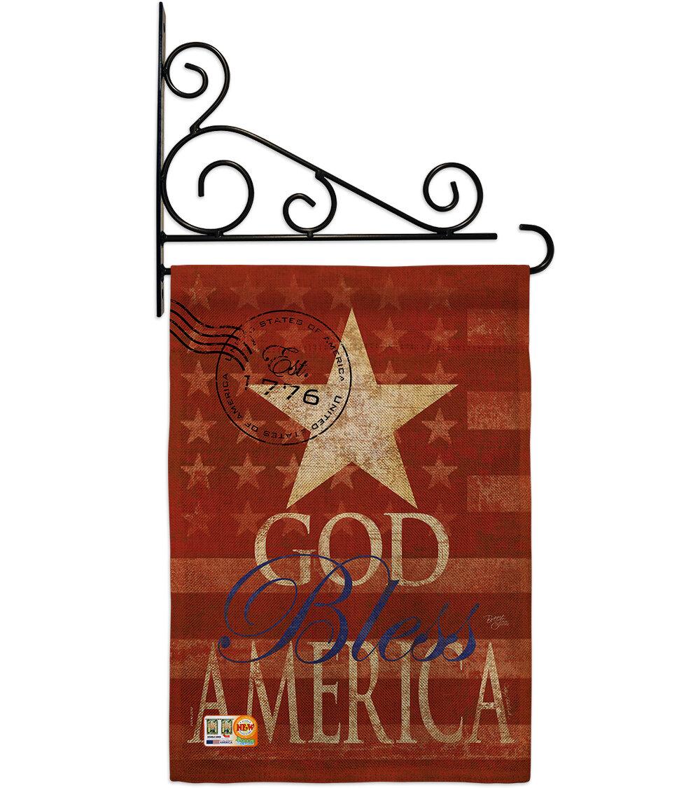 Breeze Decor God Bless America 2 Sided Polyester 19 X 13 In Flag Set Wayfair Ca