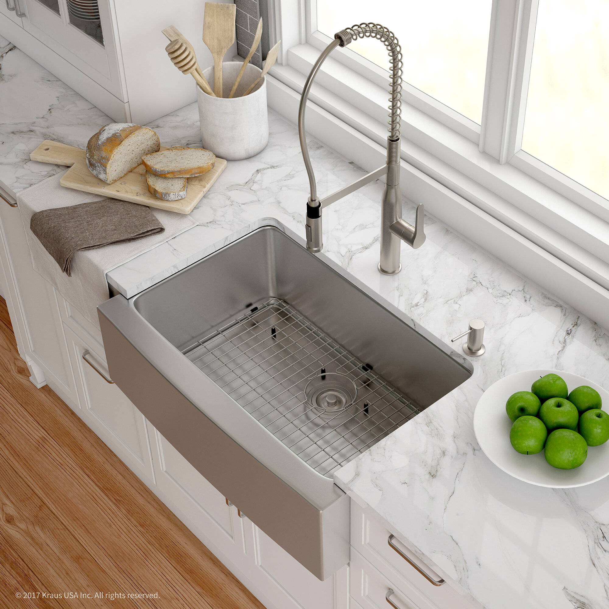 Khf200 30 1650 41ss Kraus Handmade 16 Gauge Stainless Steel 29 75 L X 20 W A Front Farmhouse Kitchen Sink With Faucet Reviews Wayfair