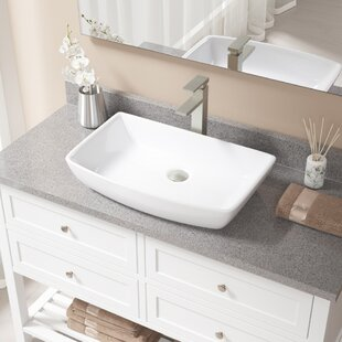 Vitreous China Rectangular Vessel Bathroom Sink with Faucet By MR Direct